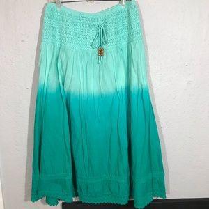 Lapis Ombré Green Broomstick Maxi Skirt size XL